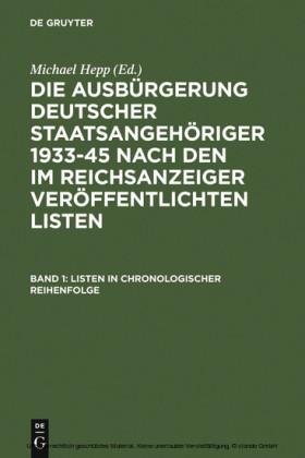 Produkt Die Ausburgerung Deutscher Staatsangehoriger 1933 Band 1
