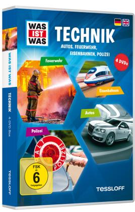 Technik - Autos, Feuerwehr, Eisenbahnen, Polizei, 4 DVDs