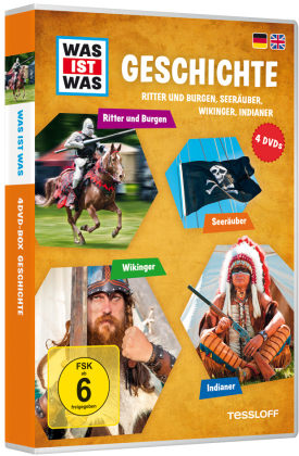 Was ist was: Geschichte - Ritter und Burgen, Seeräuber, Wikinger, Indianer, 4 DVDs