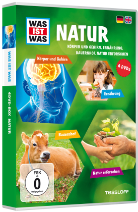 Was ist was: Natur - Körper und Gehirn, Ernährung, Bauernhof, Natur erforschen, 4 DVDs