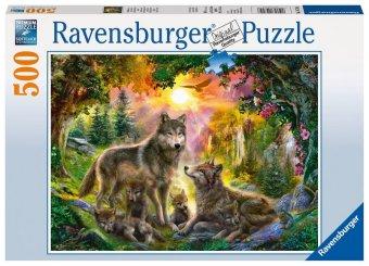 Wolfsfamilie im Sonnenschein (Puzzle)