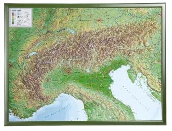Alpen, Reliefkarte, Groß, mit Holzrahmen; Alps