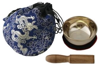 Klangschale (170 g) mit Unterlage, Klöppel und Beutel (blau)