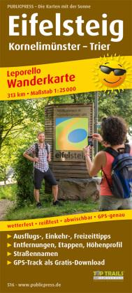 PUBLICPRESS Leporello Wanderkarte Eifelsteig, Kornelimünster - Trier