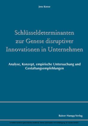 Schlüsseldeterminanten zur Genese disruptiver Innovationen in Unternehmen