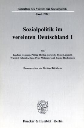 Sozialpolitik im vereinten Deutschland I.
