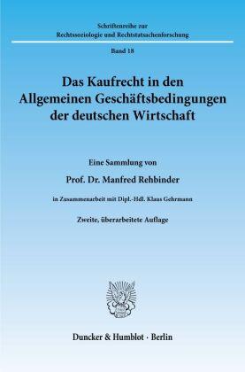 Das Kaufrecht in den Allgemeinen Geschäftsbedingungen der deutschen Wirtschaft.