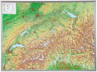 Schweiz, Reliefkarte, Groß, m. Aluminiumrahmen