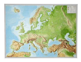Europa, Reliefkarte, Groß, mit Aluminiumrahmen