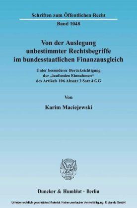 Von der Auslegung unbestimmter Rechtsbegriffe im bundesstaatlichen Finanzausgleich