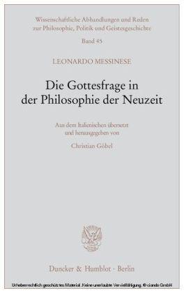 Die Gottesfrage in der Philosophie der Neuzeit.