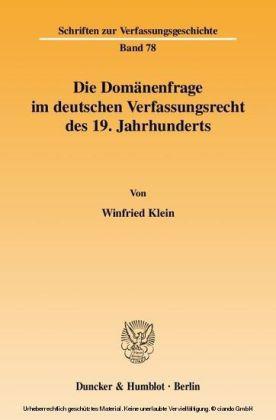 Die Domänenfrage im deutschen Verfassungsrecht des 19. Jahrhunderts