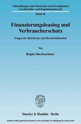 Finanzierungsleasing und Verbraucherschutz.