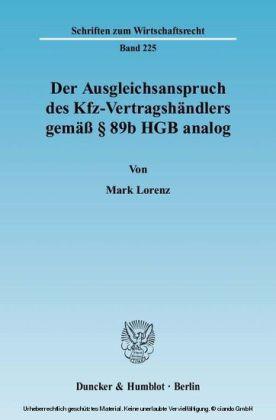 Der Ausgleichsanspruch des Kfz-Vertragshändlers gemäß § 89b HGB analog