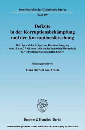 Defizite in der Korruptionsbekämpfung und der Korruptionsforschung