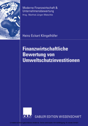 Finanzwirtschaftliche Bewertung von Umweltschutzinvestitionen