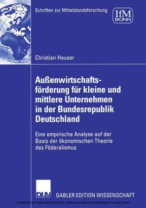 Außenwirtschaftsförderung für kleine und mittlere Unternehmen in der Bundesrepublik Deutschland