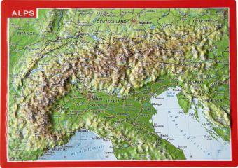 Alps. Alpen. Alpes. Alpi, Reliefpostkarte