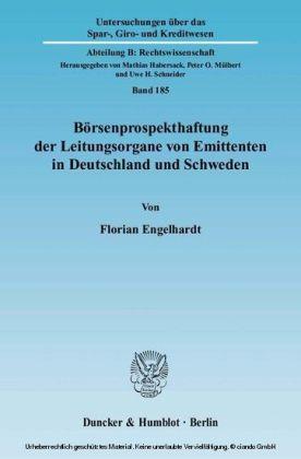 Börsenprospekthaftung der Leitungsorgane von Emittenten in Deutschland und Schweden.
