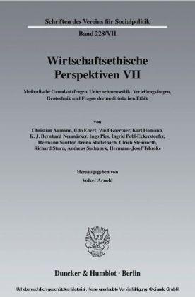 Wirtschaftsethische Perspektiven VII.