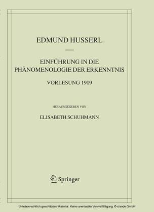 Einführung in die Phänomenologie der Erkenntnis. Vorlesung 1909