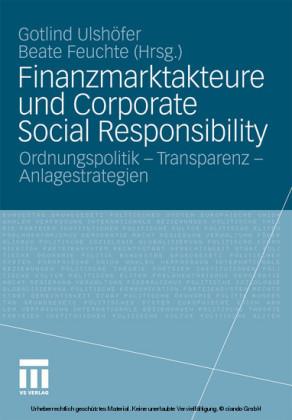 Finanzmarktakteure und Corporate Social Responsibility