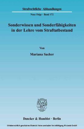 Sonderwissen und Sonderfähigkeiten in der Lehre vom Straftatbestand.