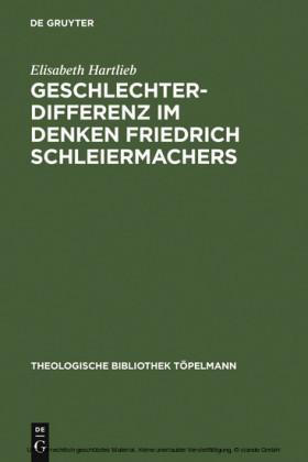 Geschlechterdifferenz im Denken Friedrich Schleiermachers