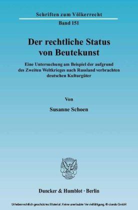 Der rechtliche Status von Beutekunst.
