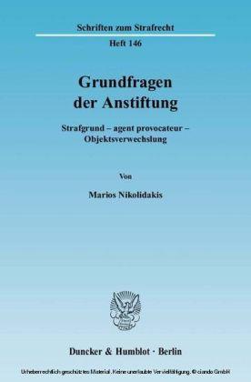 Grundfragen der Anstiftung.