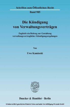 Die Kündigung von Verwaltungsverträgen.