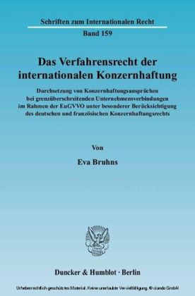 Das Verfahrensrecht der internationalen Konzernhaftung.