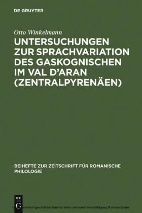 Untersuchungen zur Sprachvariation des Gaskognischen im Val d'Aran (Zentralpyrenäen)