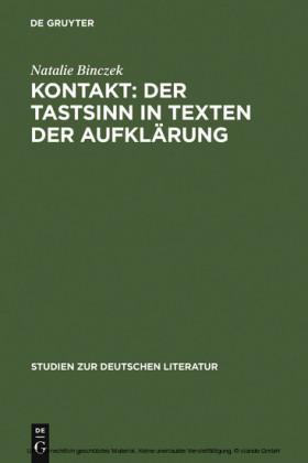 Kontakt: Der Tastsinn in Texten der Aufklärung