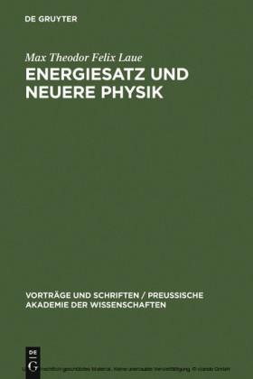 Energiesatz und neuere Physik