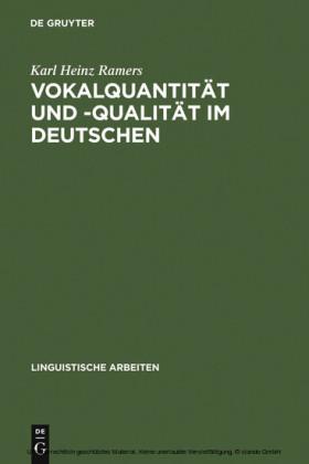 Vokalquantität und -qualität im Deutschen