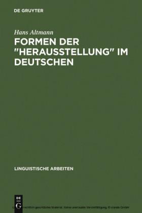 Formen der 'Herausstellung' im Deutschen