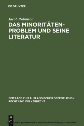 Das Minoritätenproblem und seine Literatur