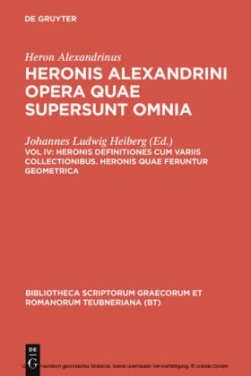 Heronis definitiones cum variis collectionibus. Heronis quae feruntur geometrica