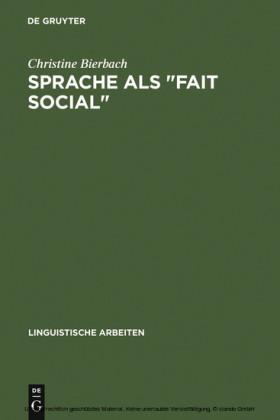Sprache als 'Fait social'