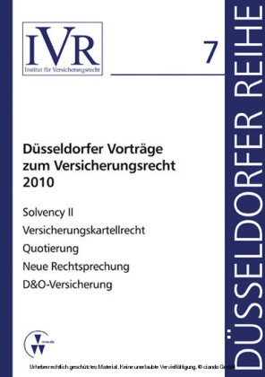 Düsseldorfer Vorträge zum Versicherungsrecht 2010