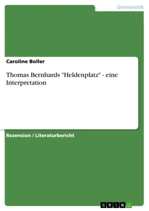 Thomas Bernhards 'Heldenplatz' - eine Interpretation
