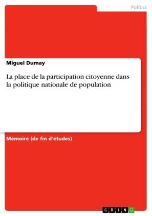 La place de la participation citoyenne dans la politique nationale de population