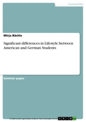 Significant differences in Lifestyle between American and German Students