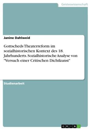 Gottscheds Theaterreform im sozialhistorischen Kontext des 18. Jahrhunderts. Sozialhistorische Analyse von 'Versuch einer Critischen Dichtkunst'