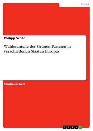 Wähleranteile der Grünen Parteien in verschiedenen Staaten Europas