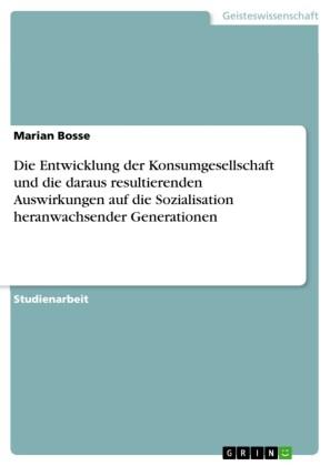 Die Entwicklung der Konsumgesellschaft und die daraus resultierenden Auswirkungen auf die Sozialisation heranwachsender Generationen
