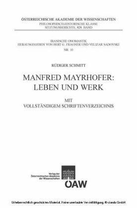 Manfred Mayrhofer: Leben und Werk