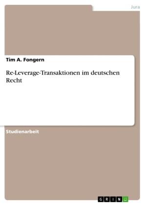 Re-Leverage-Transaktionen im deutschen Recht