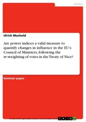 Are power indices a valid measure to quantify changes in influence in the EU's Council of Ministers, following the re-weighting of votes in the Treaty of Nice?